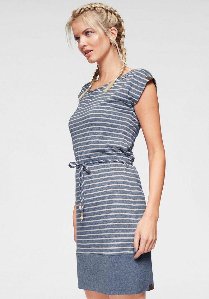 Damen Ragwear Shirtkleid SOHO STRIPES mit maritimen Streifen und Bindeband blau | 04251591923711