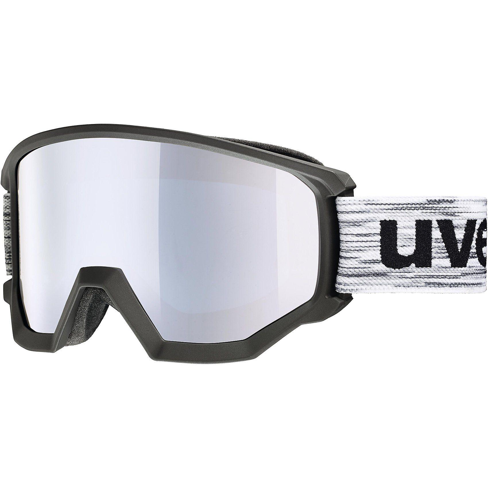 Uvex Skibrille athletic FM, black/white mat dl/silver-blue