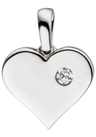 JOBO Herzanhänger »Herz«, 585 Weißgold mit 1 Diamant