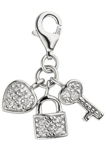 JOBO Charm-Einhänger »Schlüssel zum Herzen«, 925 Silber mit 14 Zirkonia