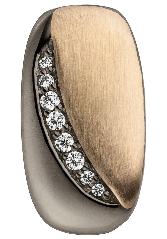 JOBO Kettenanhänger 925 Silber schwarz bicolor vergoldet mit 8 Zirkonia