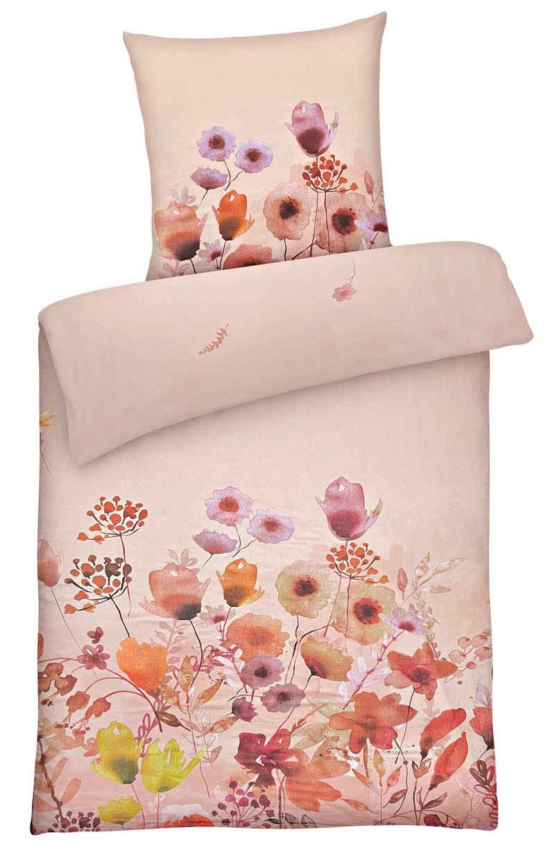 Bettwäsche »Warme Winter Biber-Bettwäsche aus 100% Baumwolle bunte Blumen«, Carpe Sonno, Super weiche Flanell-Bettbezüge 135x200 cm für die kalte Jahreszeit, weicher und warmer Stoff mit Wohlfühlcharakter, kuscheliges Material in Premium Qualität für einen angenehmen Schlafkomfort