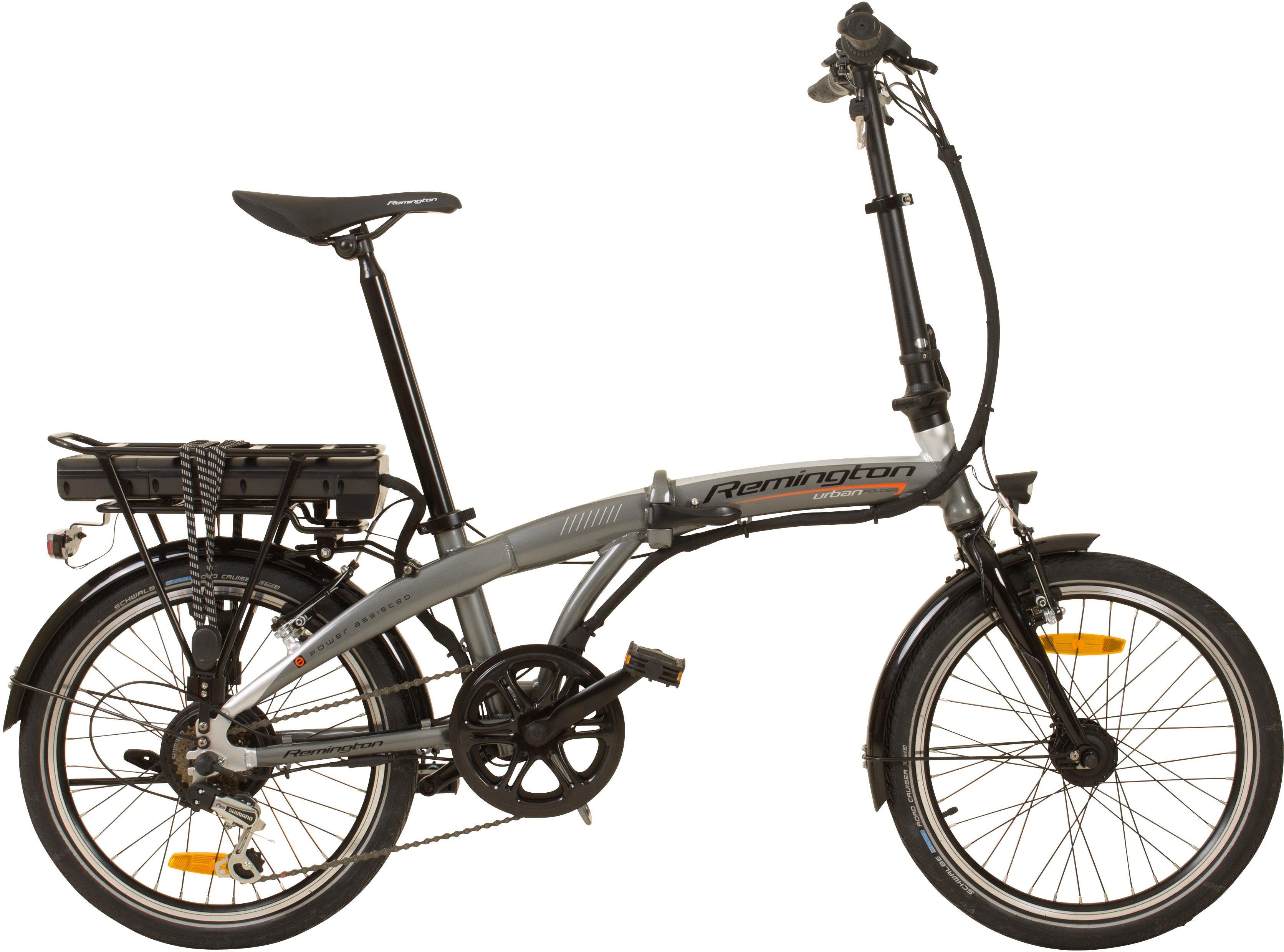 Remington E-Bike »Urban Folder«, 7 Gang Shimano, Kettenschaltung, Heckmotor 250 W