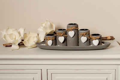 Home affaire Teelichthalter »Tabea« (Set, 7 Stück, bestehend aus Tablett, Ziersteinen und 5 Kerzenhaltern)