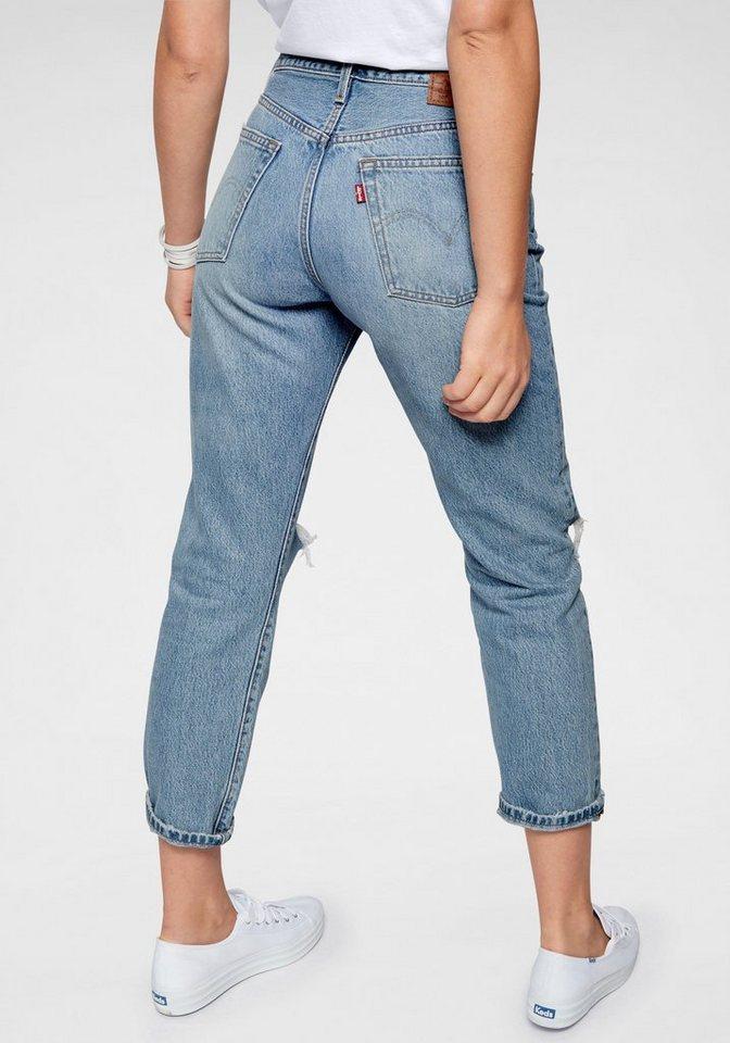 Levi´s® Destroyed-Jeans »501« (1-tlg) Verkürzte Form mit Destroyed-Effekten | Bekleidung > Jeans > Destroyed Jeans | Blau | Denim | Levi´s®