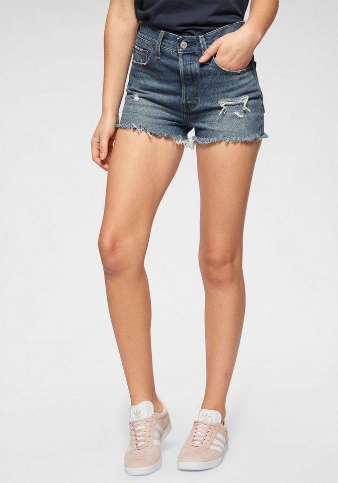 Levi´s® Hotpants »501 High Rise« mit destroyed Effekten | Bekleidung > Hosen > Hotpants | Blau | Jeans - Baumwolle - Ab | Levi´s®