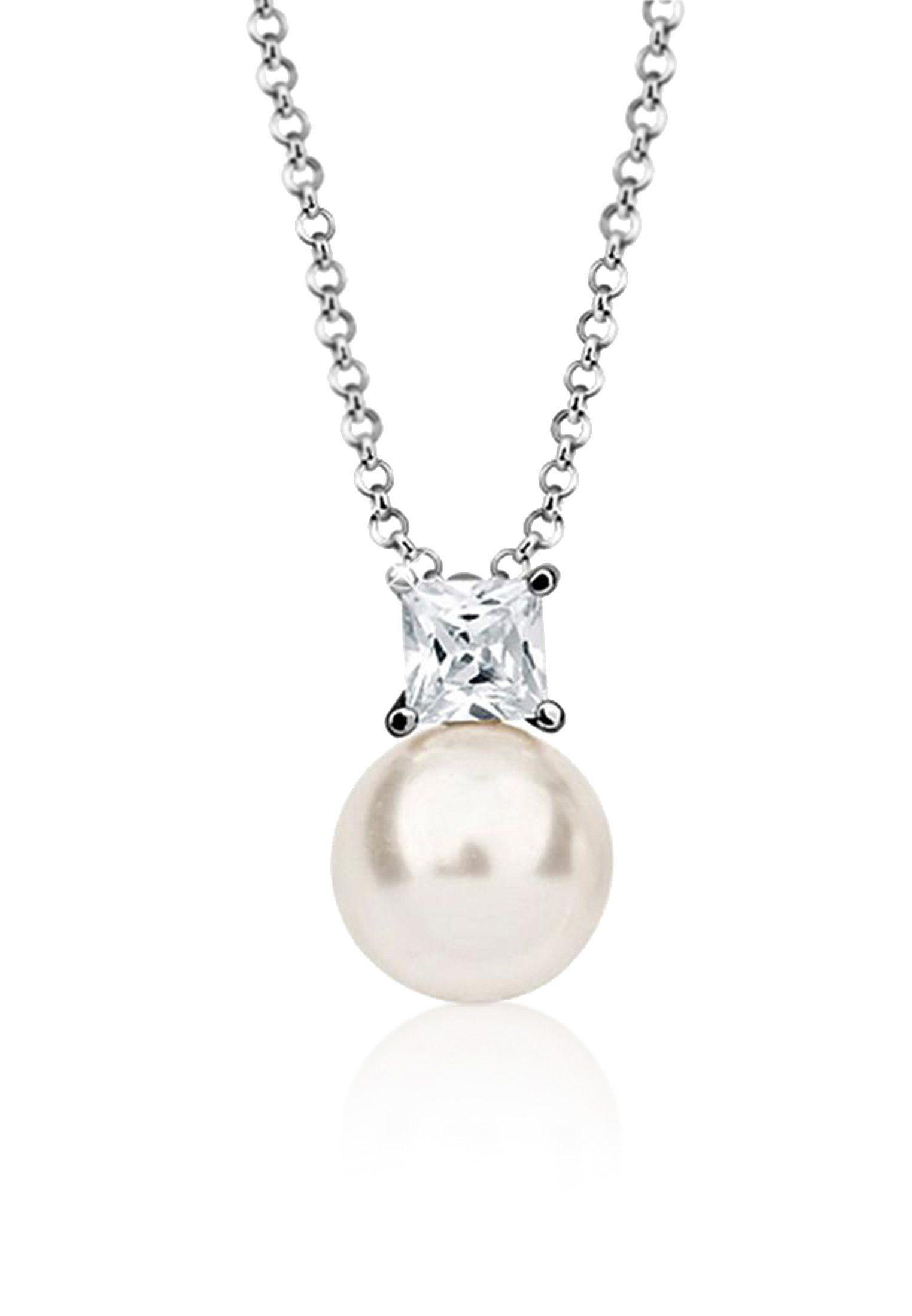 Nenalina Perlenkette »Zirkonia Perle Swarovski® Kristalle 925 Silber«