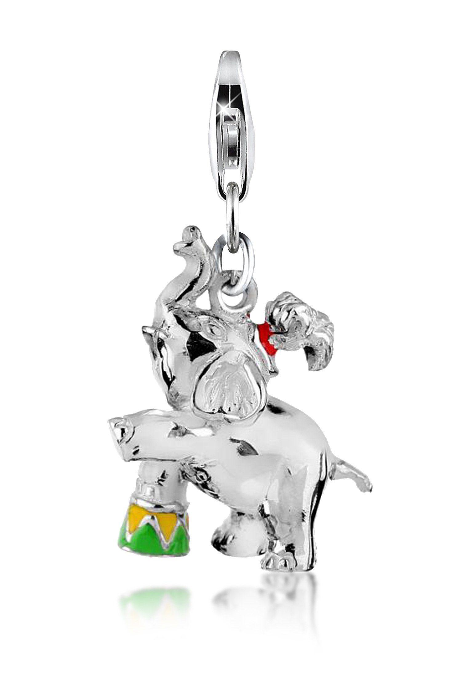 Nenalina Charm-Einhänger »Zirkuselefant-Anhänger Emaille Pose 925er Silber«