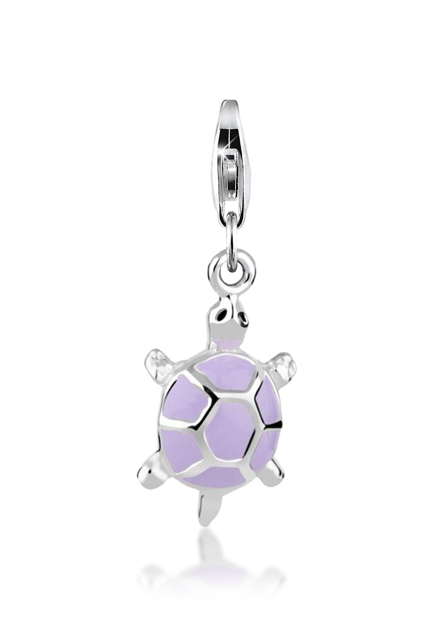 Nenalina Charm-Einhänger »Anhänger Schildkröte Emaille Pastell 925 Silber«