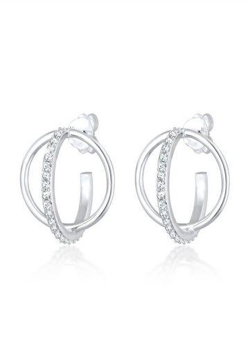 Elli Paar Creolen »Creole 3D Geo Swarovski® Kristalle 925er Silber«
