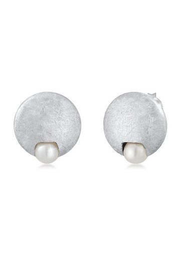 Nenalina Paar Ohrstecker »Stecker Süßwasserzuchtperle gebürstet 925 Silber«