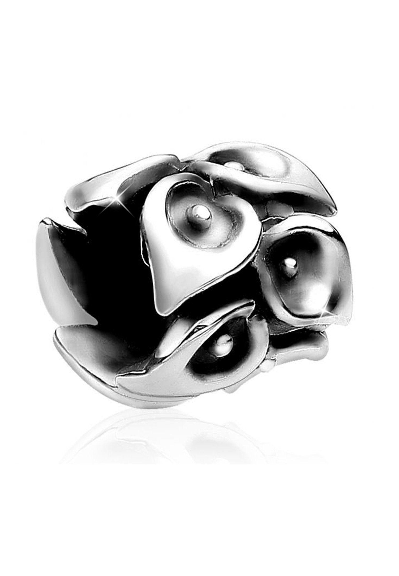 Nenalina Charm-Einhänger »Bead Silberanhänger Oxid Lillien 925er Silber«