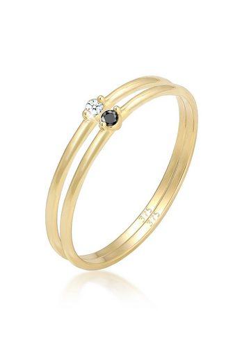 Elli Diamantring »Solitär Schwarz Weiss Diamant (0.04 ct) Gelbgold«