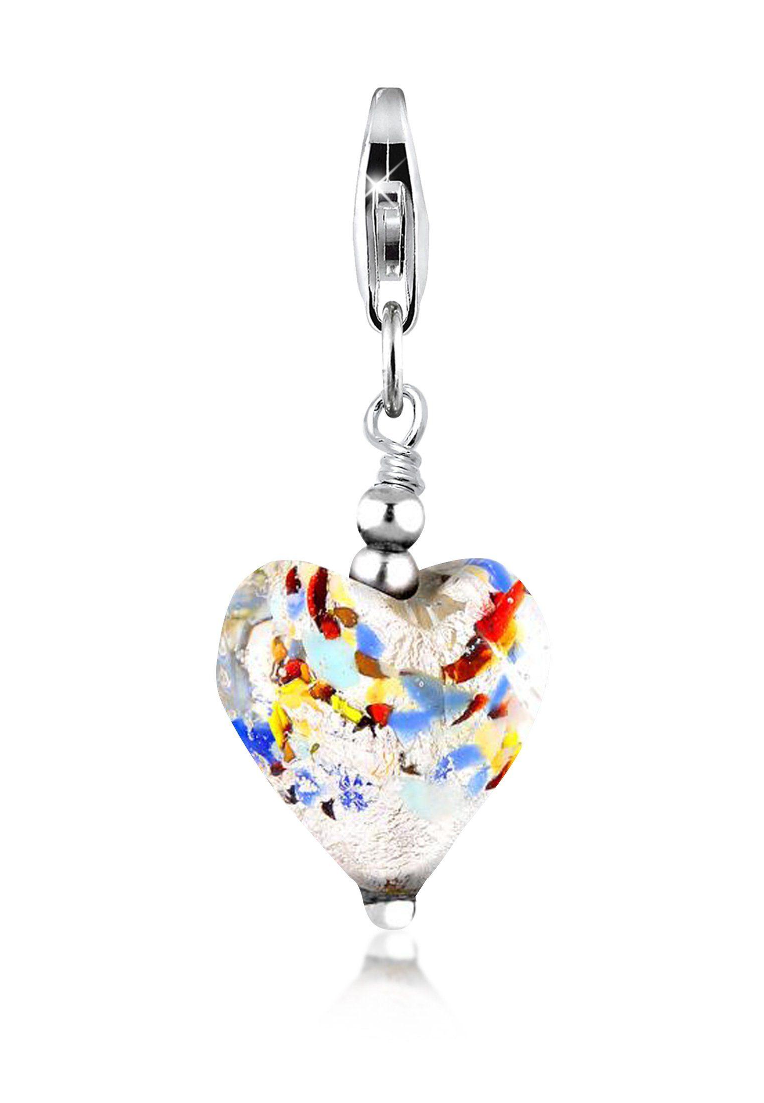 Nenalina Charm-Einhänger »Muranoglas Herz Anhänger Symbol Liebe 925 Silber«