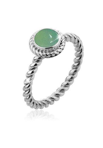 Nenalina Fingerring »Grüner Achat Geburtsstein Mai Trend 925 Silber«