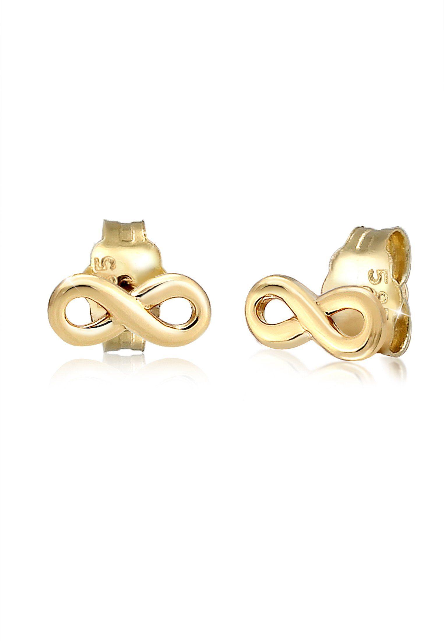 Elli Paar Ohrstecker »Stecker Infinity Symbol Unendlichkeit 585 Gelbgold«