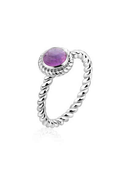 Nenalina Fingerring »Amethyst Geburtsstein Februar Trend 925 Silber«