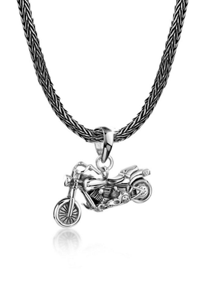 Kuzzoi Silberkette »Mann Schlangenkette Motorrad Anhänger