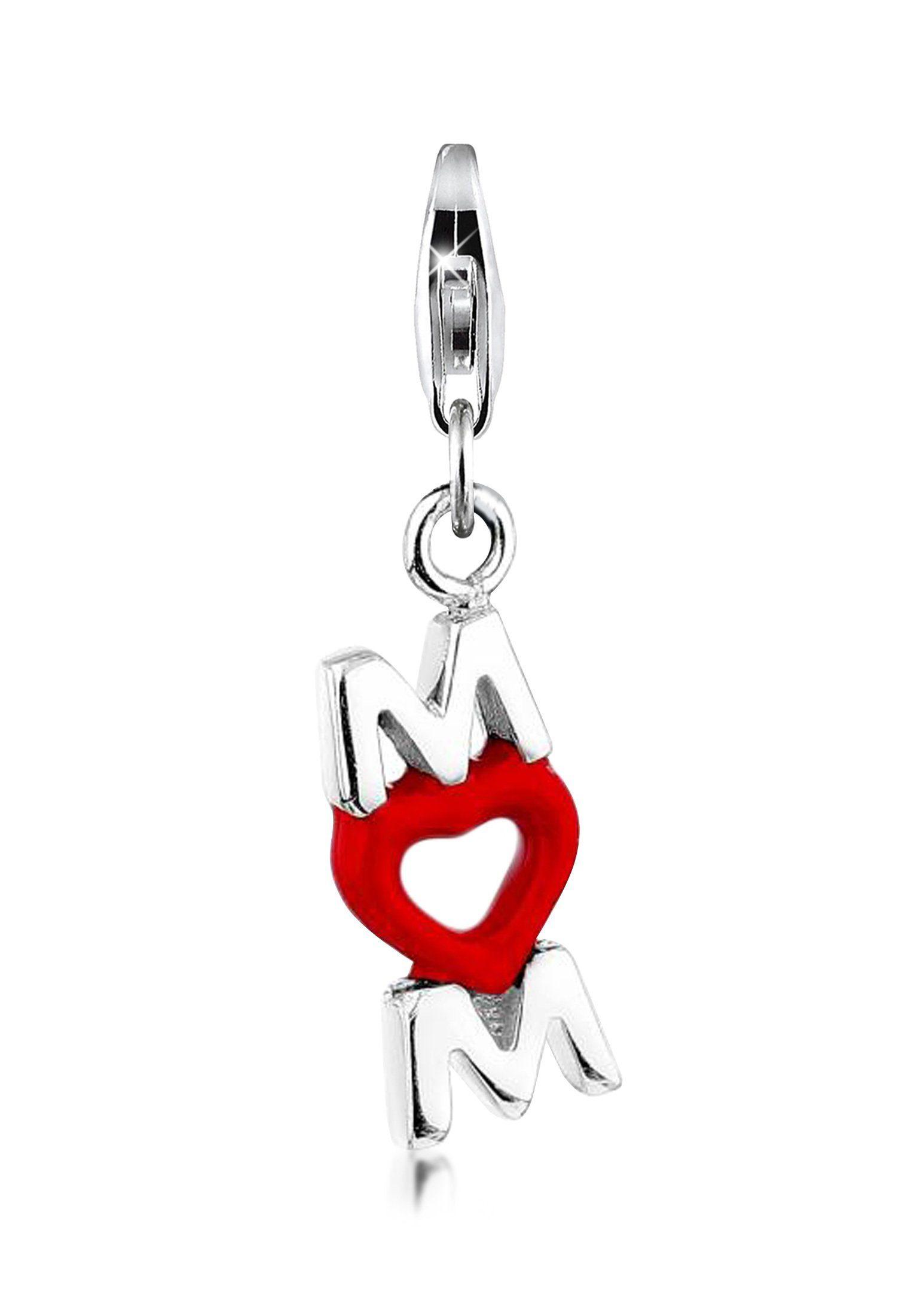 Nenalina Charm-Einhänger »Mom-Anhänger Herz Emaille Muttertag 925er Silber«