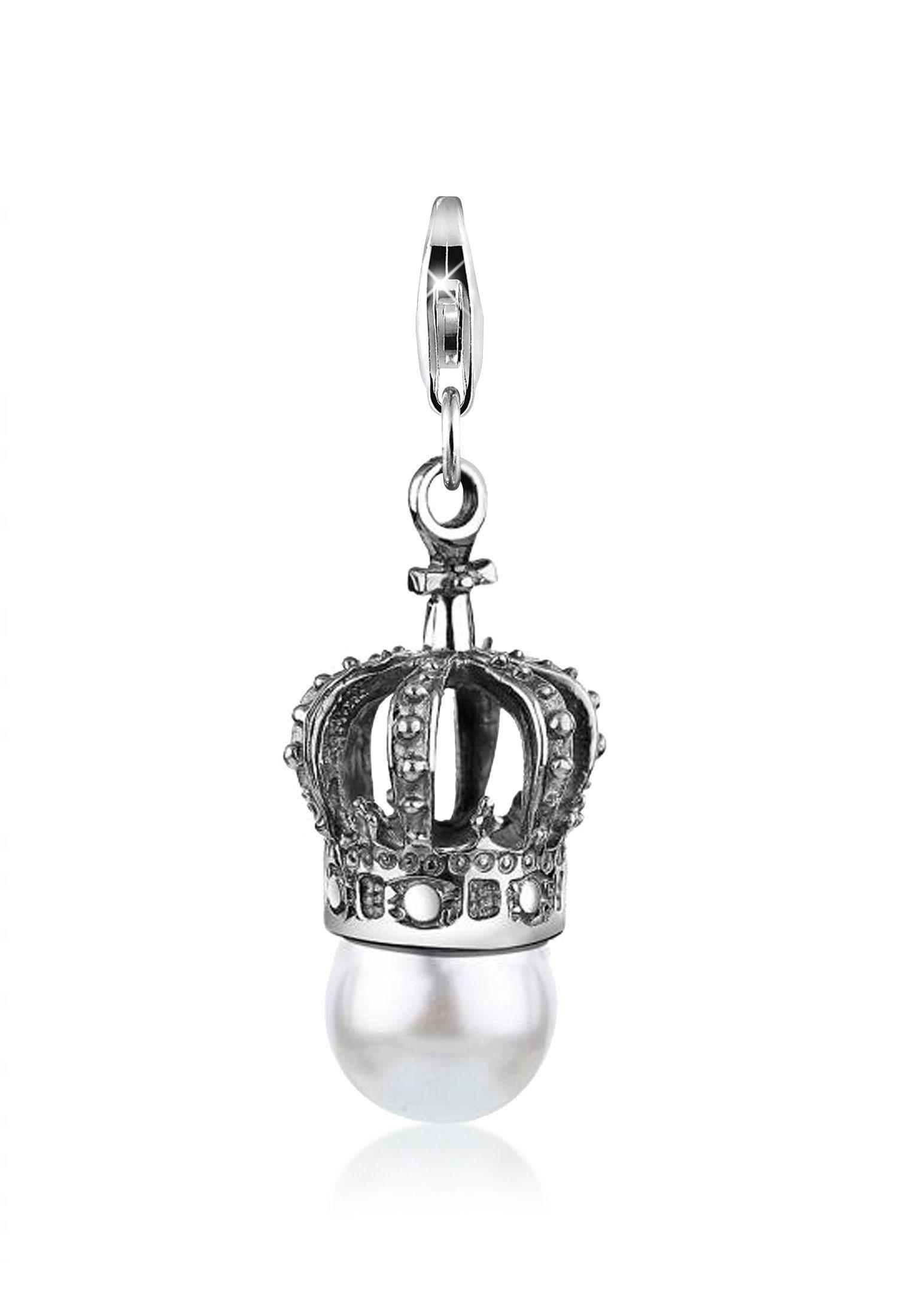 Nenalina Charm Perle »Krone Perle Royal Swarovski® Kristalle 925 Silber«