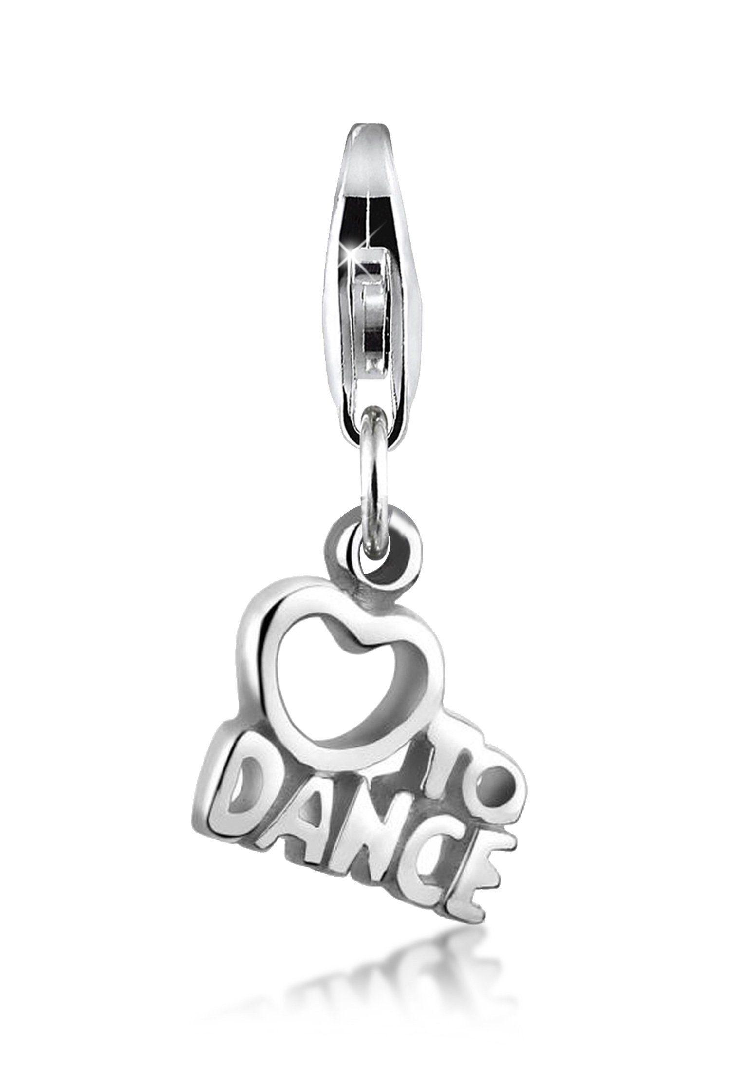 """Nenalina Charm-Einhänger »""""Love to Dance"""" Wording Herz 925 Sterling Silber«"""