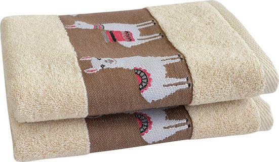 Dyckhoff Handtücher »Lama« (2-St), mit trendiger Lamabordüre