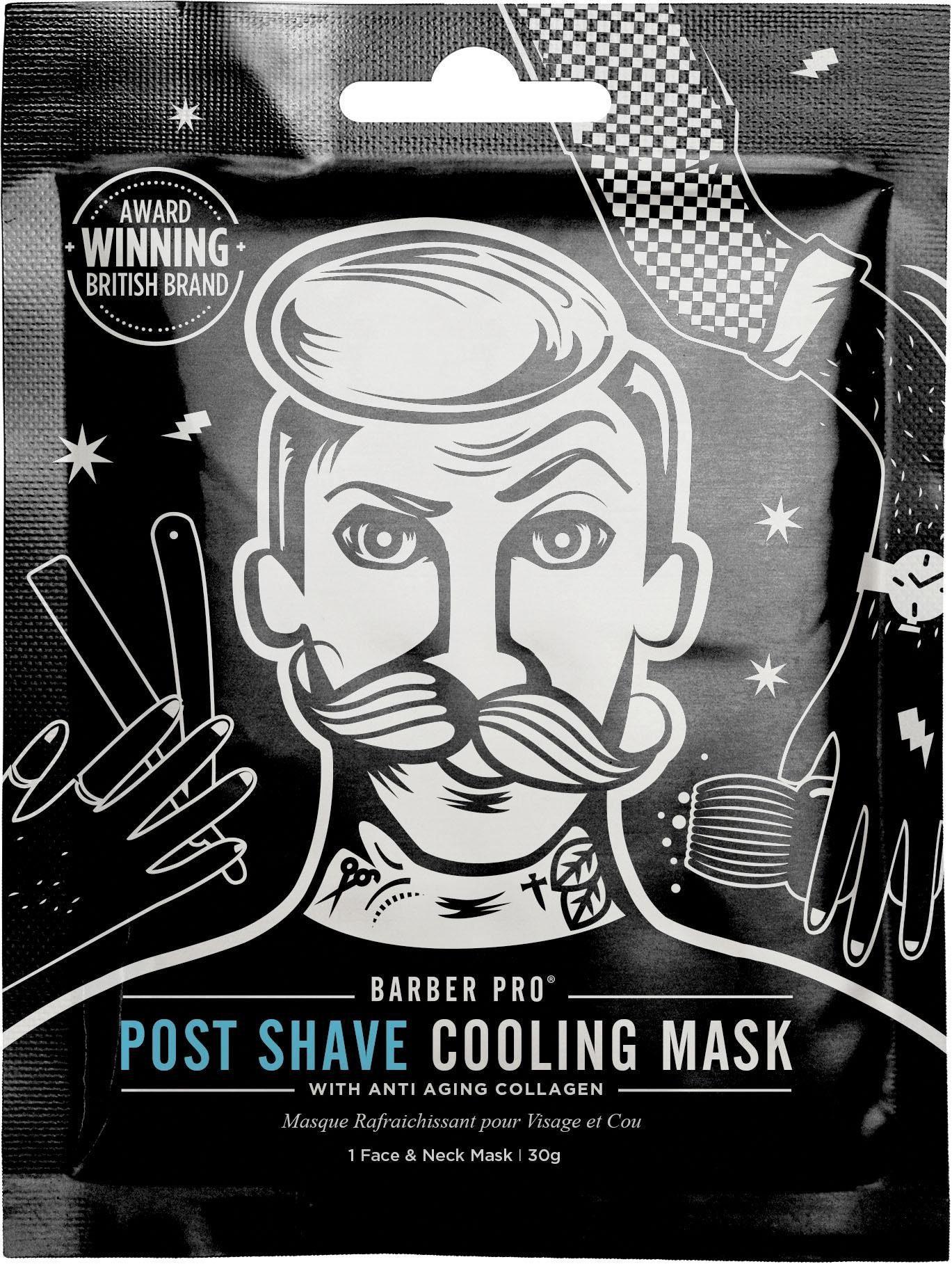 BARBER PRO, »Post Shave Cooling Mask™«, Vliesmaske mit anti-aging Kollagen