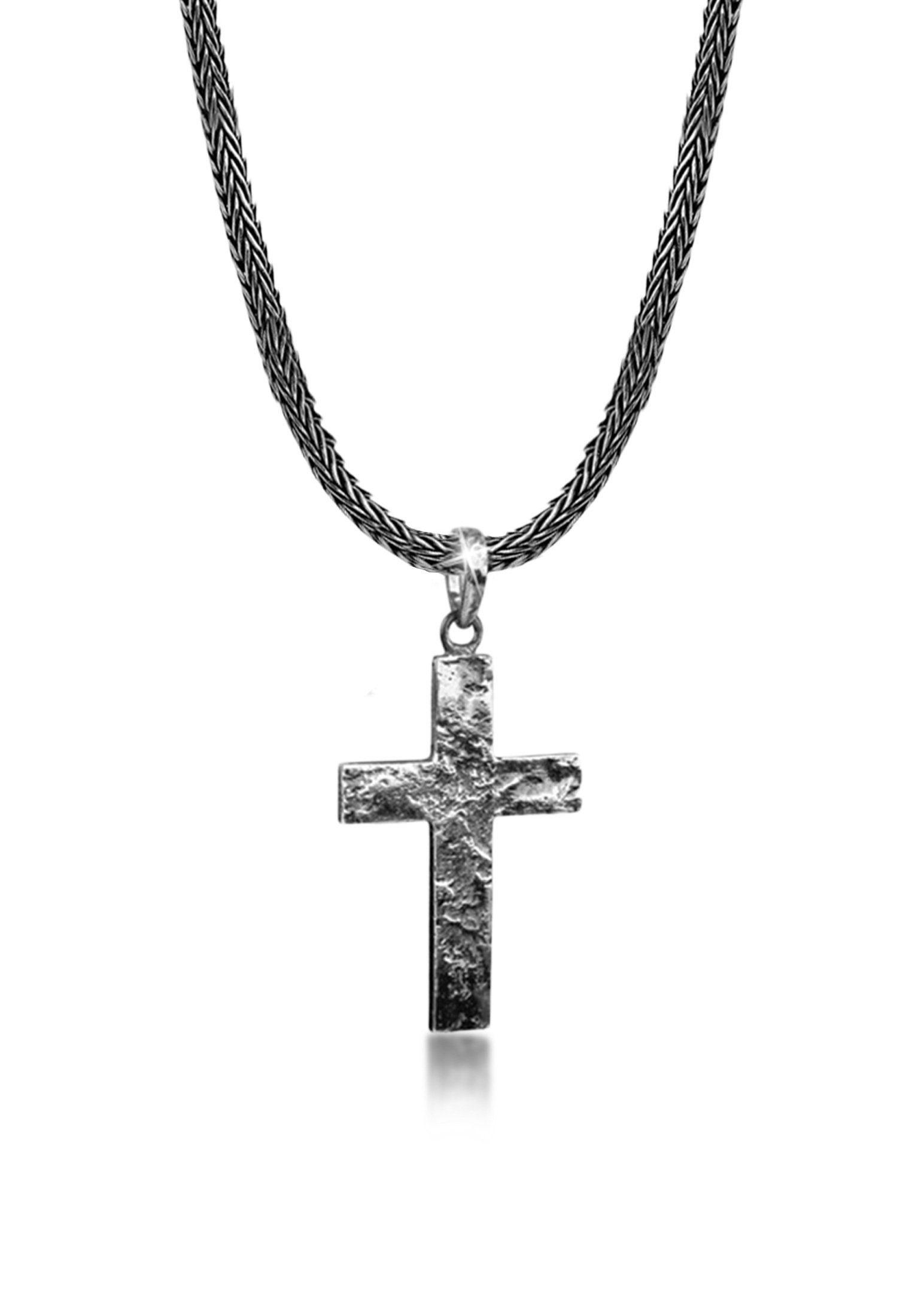 Kuzzoi Silberkette »Männerkette Kreuz Oxidiert Massiv 925 Silber«