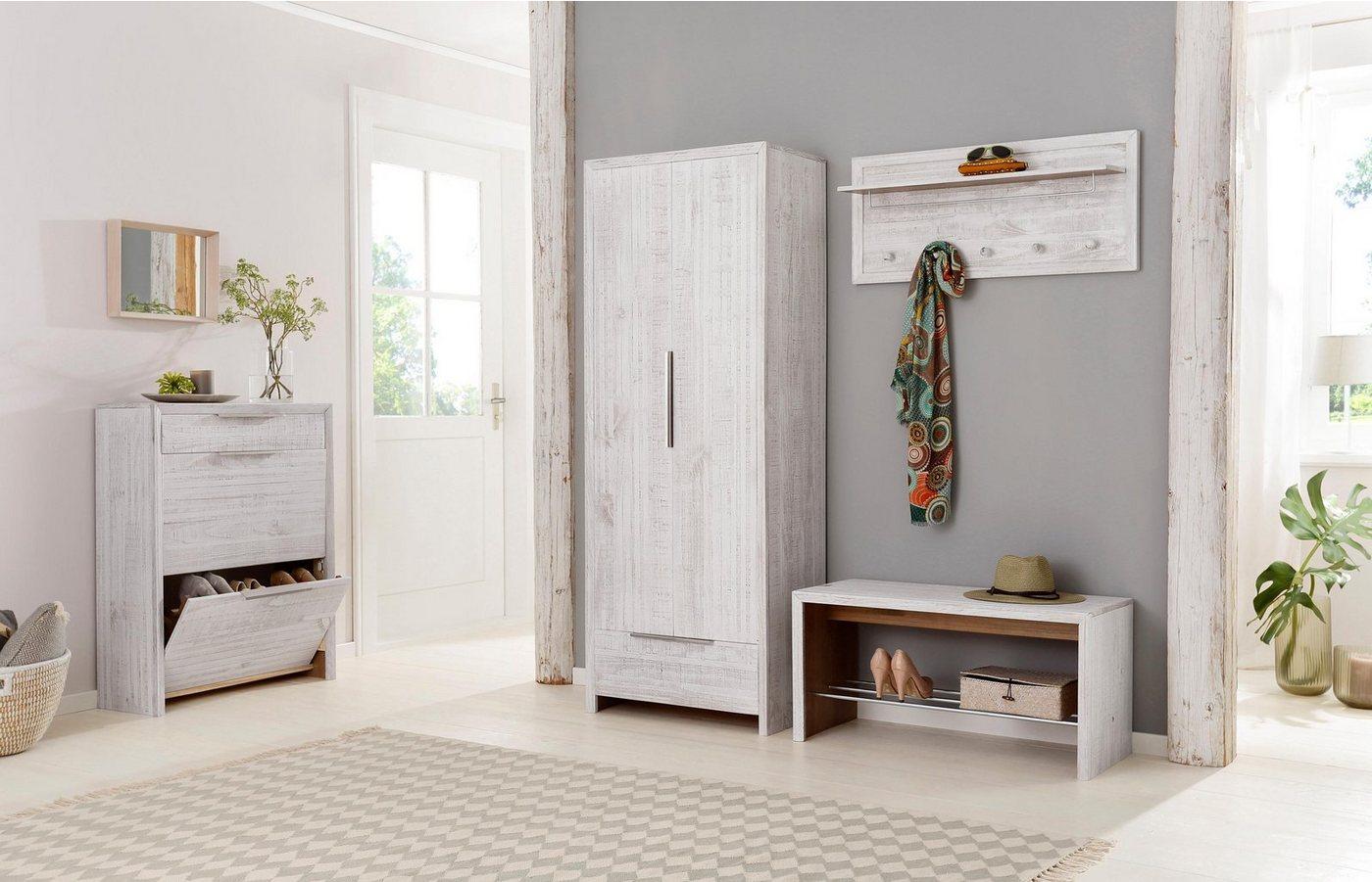 Flurschränke und Regale - Home affaire Garderobenschrank »Auckland« mit 2 Türen und 1 Schubladen, aus massivem Kiefernholz, Höhe 180 cm  - Onlineshop OTTO