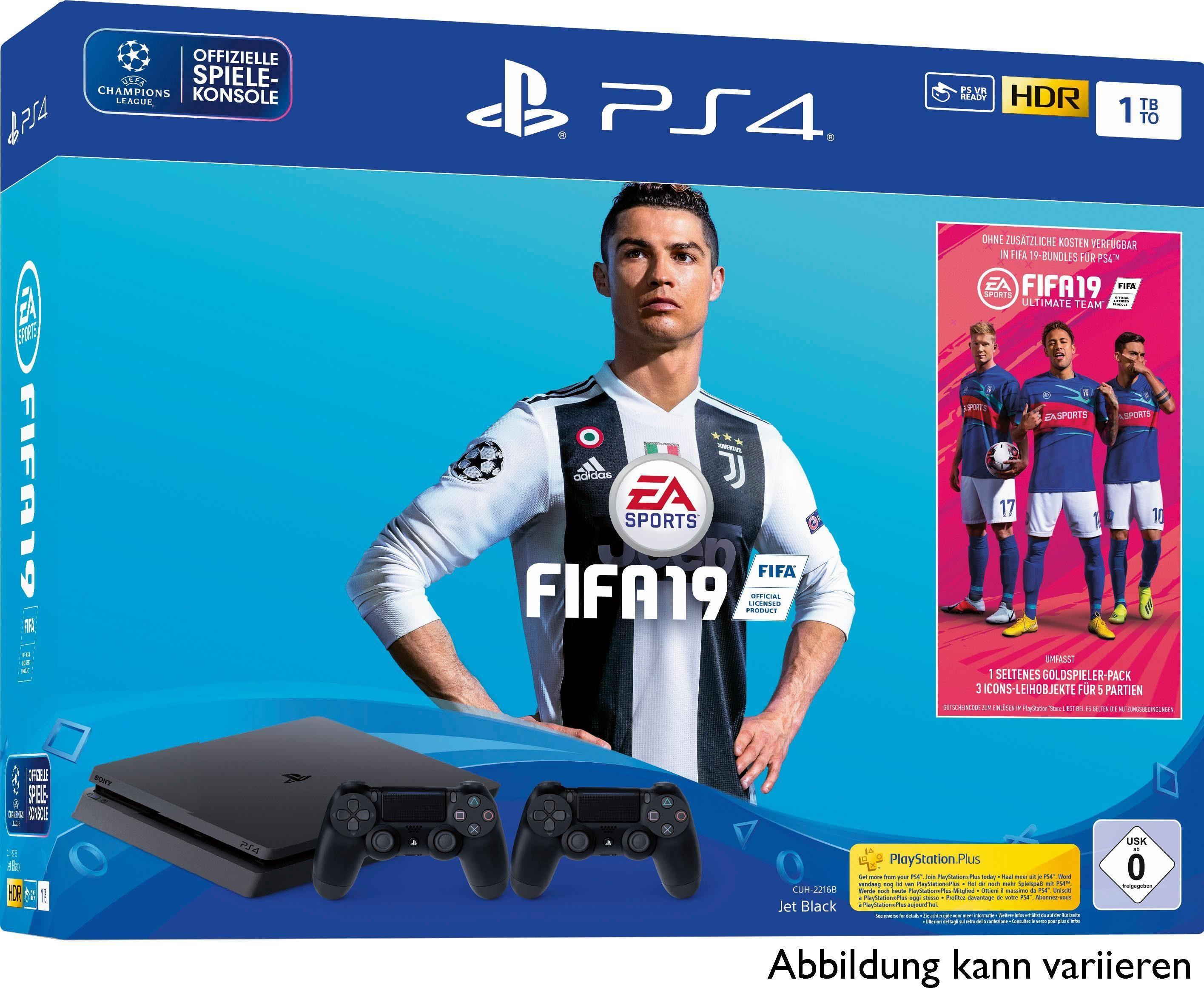 PlayStation 4 Slim (PS4 Slim) 1TB (Bundle, inkl. FIFA 19 + 2. Controller)