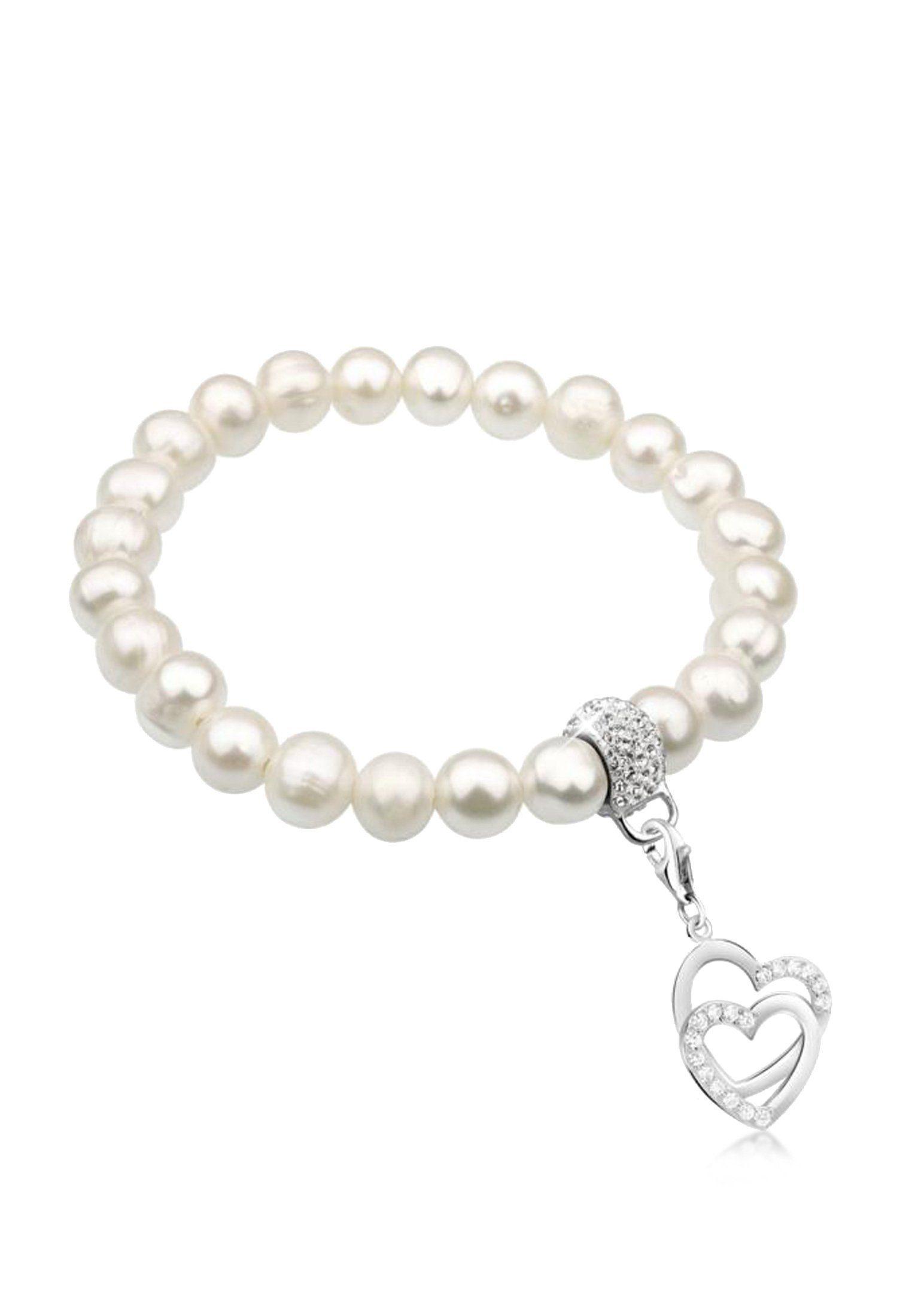 Nenalina Perlenarmband »Herzen Perlen Swarovski® Kristalle 925 Silber«