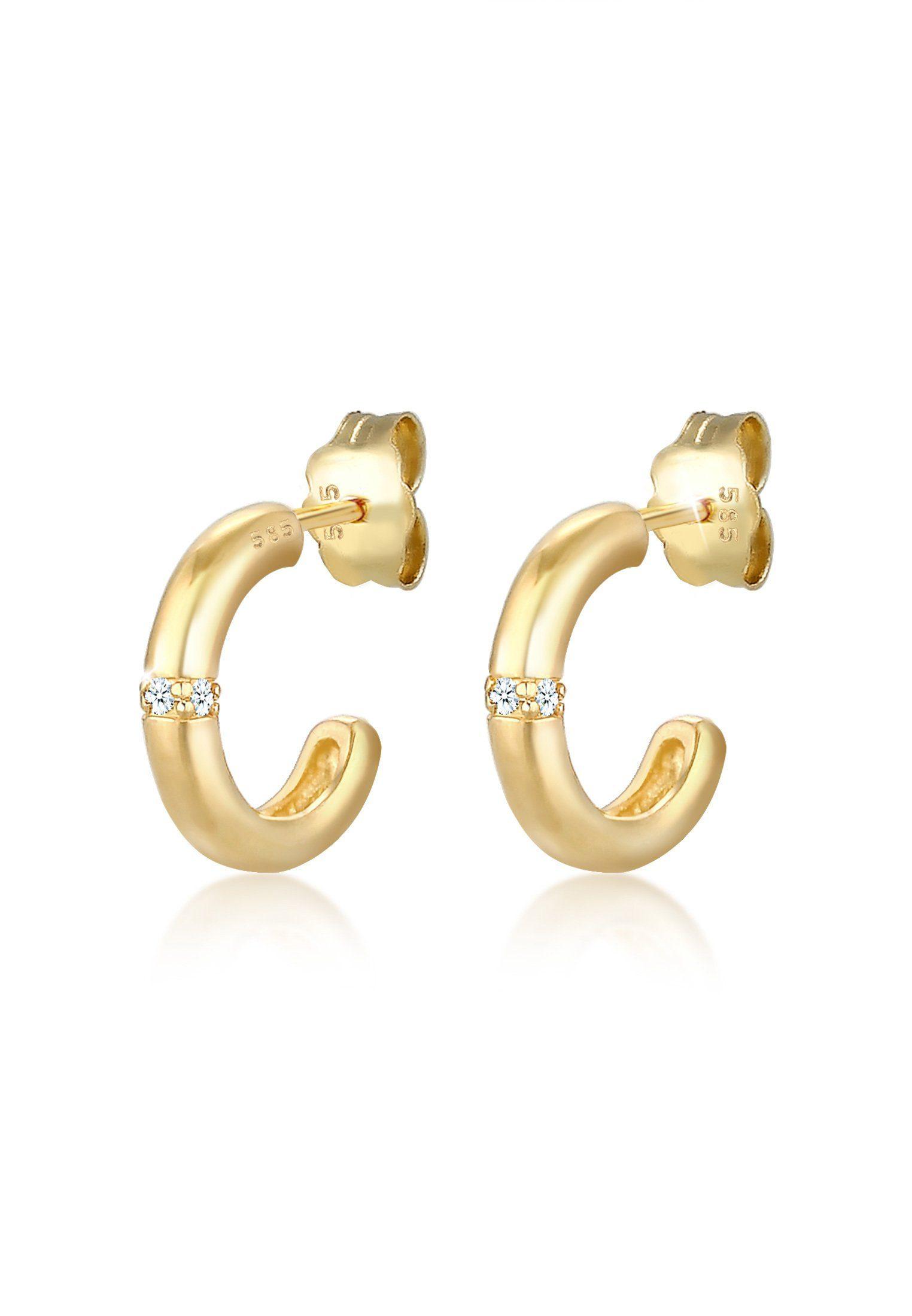 Diamore Paar Creolen »Creolen Diamanten (0.06 ct) Edel 585er Gelbgold«