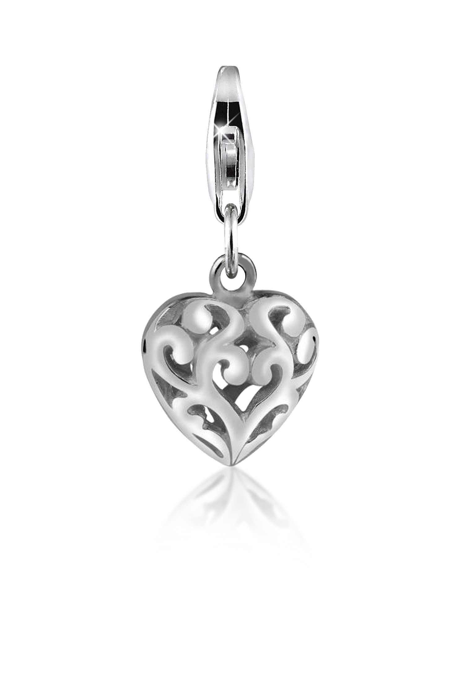 Nenalina Charm-Einhänger »Herz Ornament Anhänger Love 925 Sterling Silber«