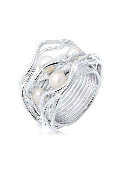 Nenalina Perlenring »Süßwasserperlen Geschwungen Gedreht 925 Silber«