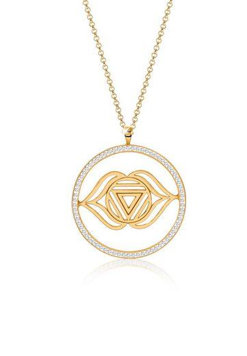 Nenalina Kette mit Anhänger »Stirn Chakra Swarovski® Kristalle 925 Silber gold«