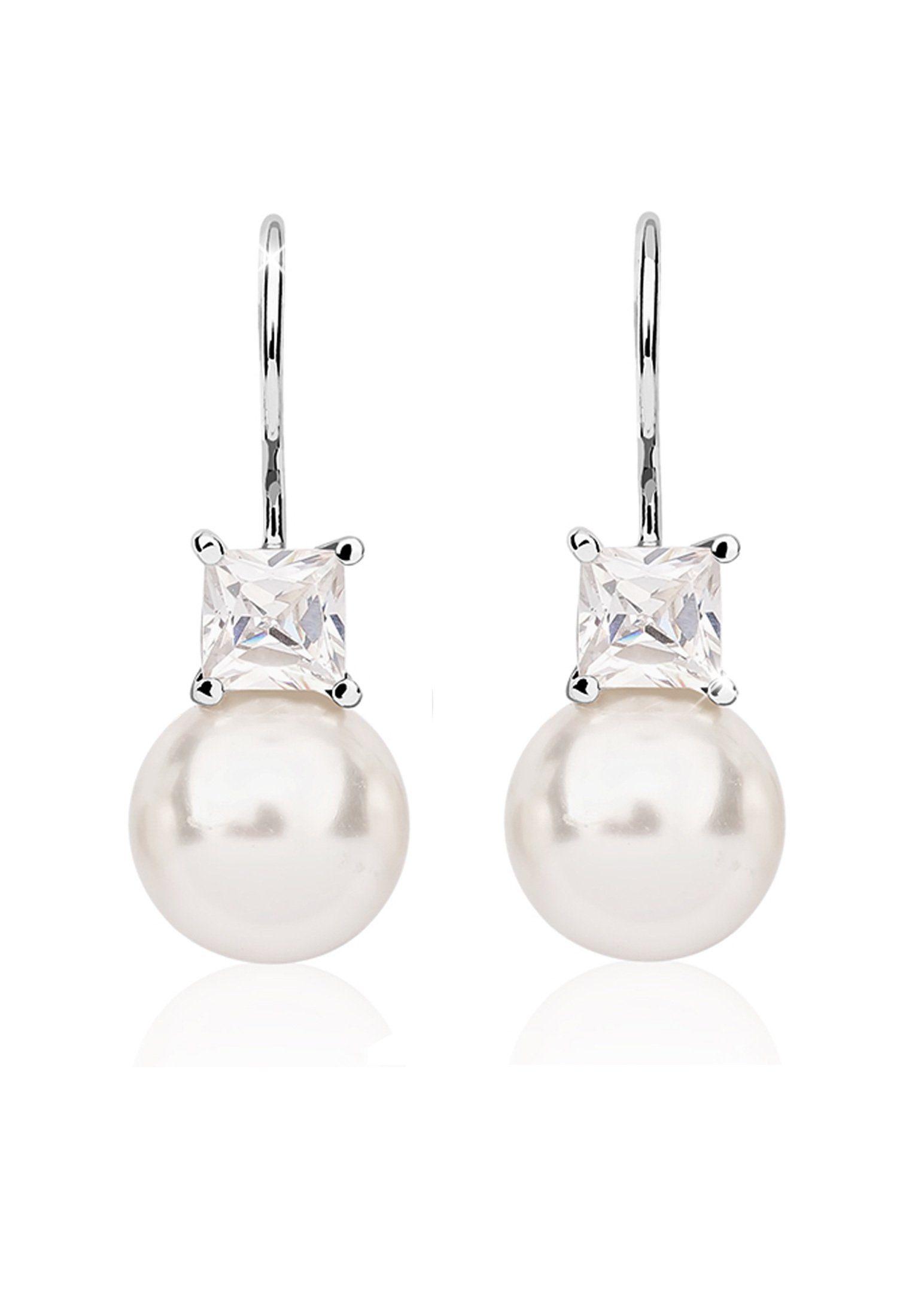 Nenalina Perlenohrringe »Perle Swarovski® Kristalle Zirkonia 925er Silber«