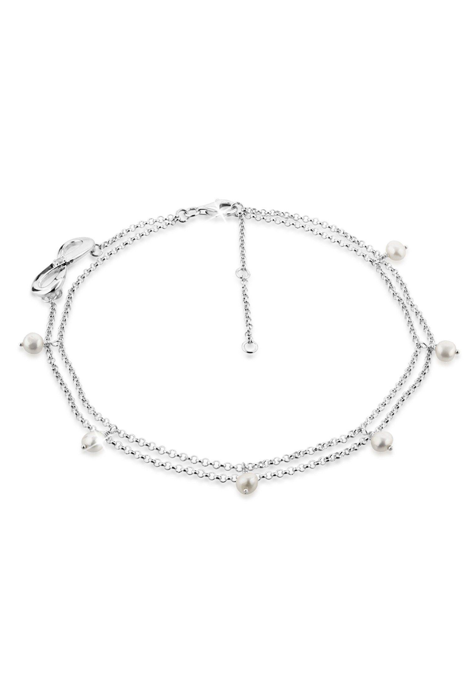 Nenalina Fußkette »Infinity Zirkonia Süsswasserzuchtperlen 925 Silber«