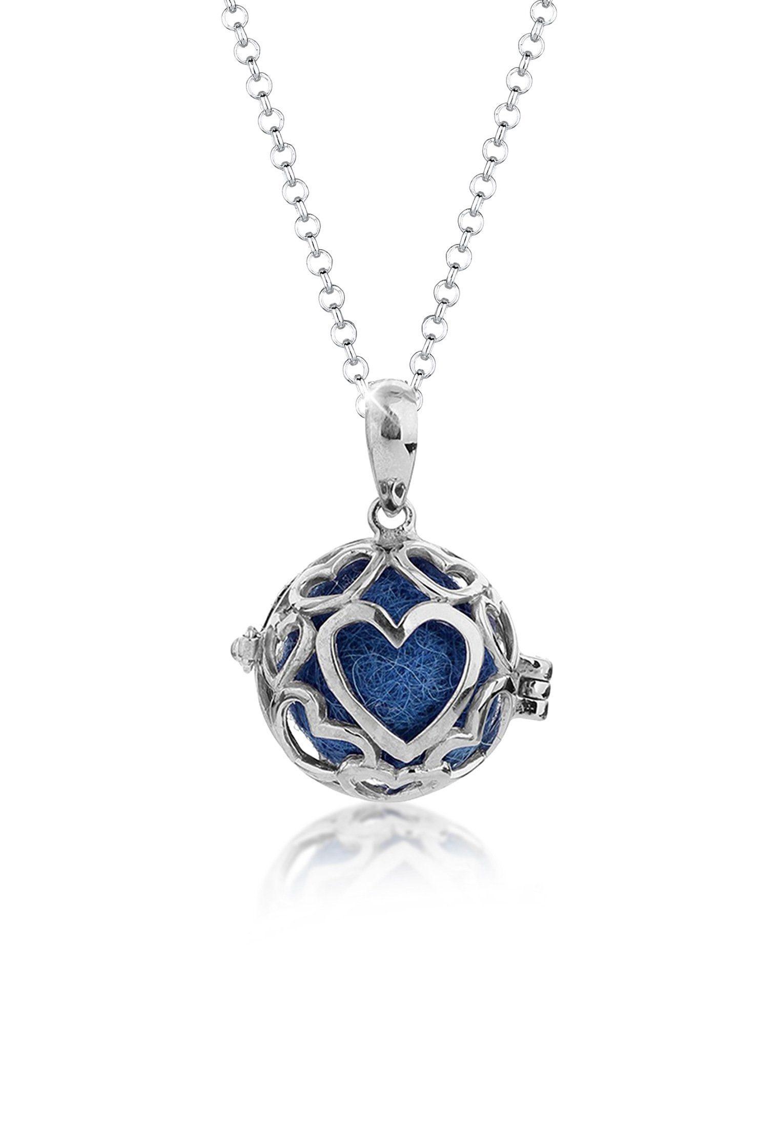 Nenalina Lange Kette »Anhänger Nepal Filzkugeln Herz Ornament 925 Silber«