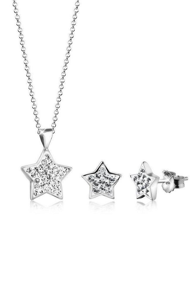Nenalina Schmuckset »Set: Kette Stecker Sterne Swarovski® Kristalle Silber« (Set, 2 tlg) | Schmuck > Schmucksets | Nenalina