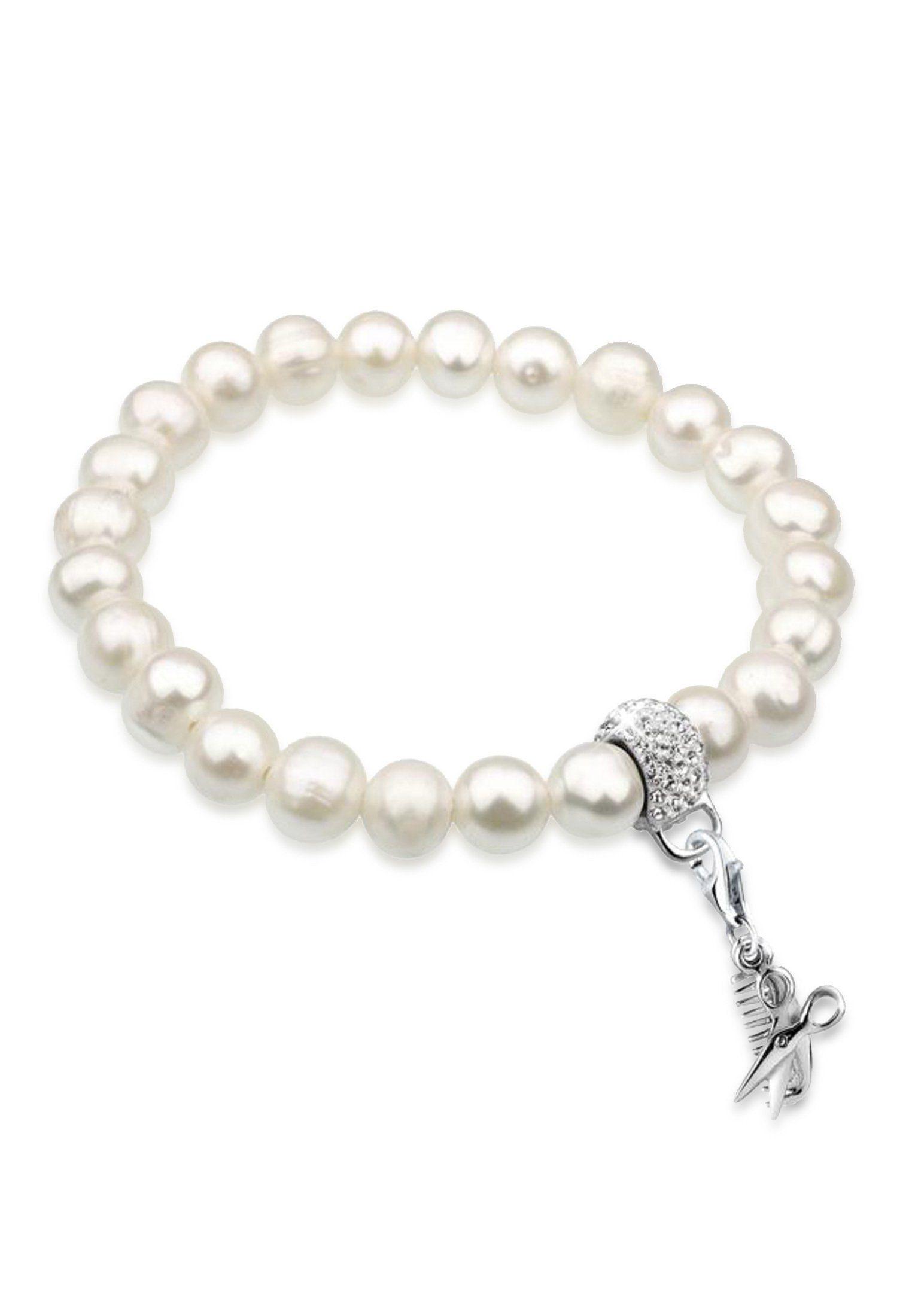 Nenalina Perlenarmband »Schere Kamm Perlen Swarovski® Kristalle 925 Silber«