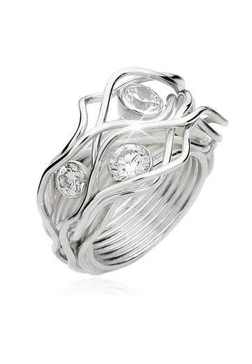 Nenalina Fingerring »Zirkonia Kristalle Gedreht Geschwungen 925 Silber«