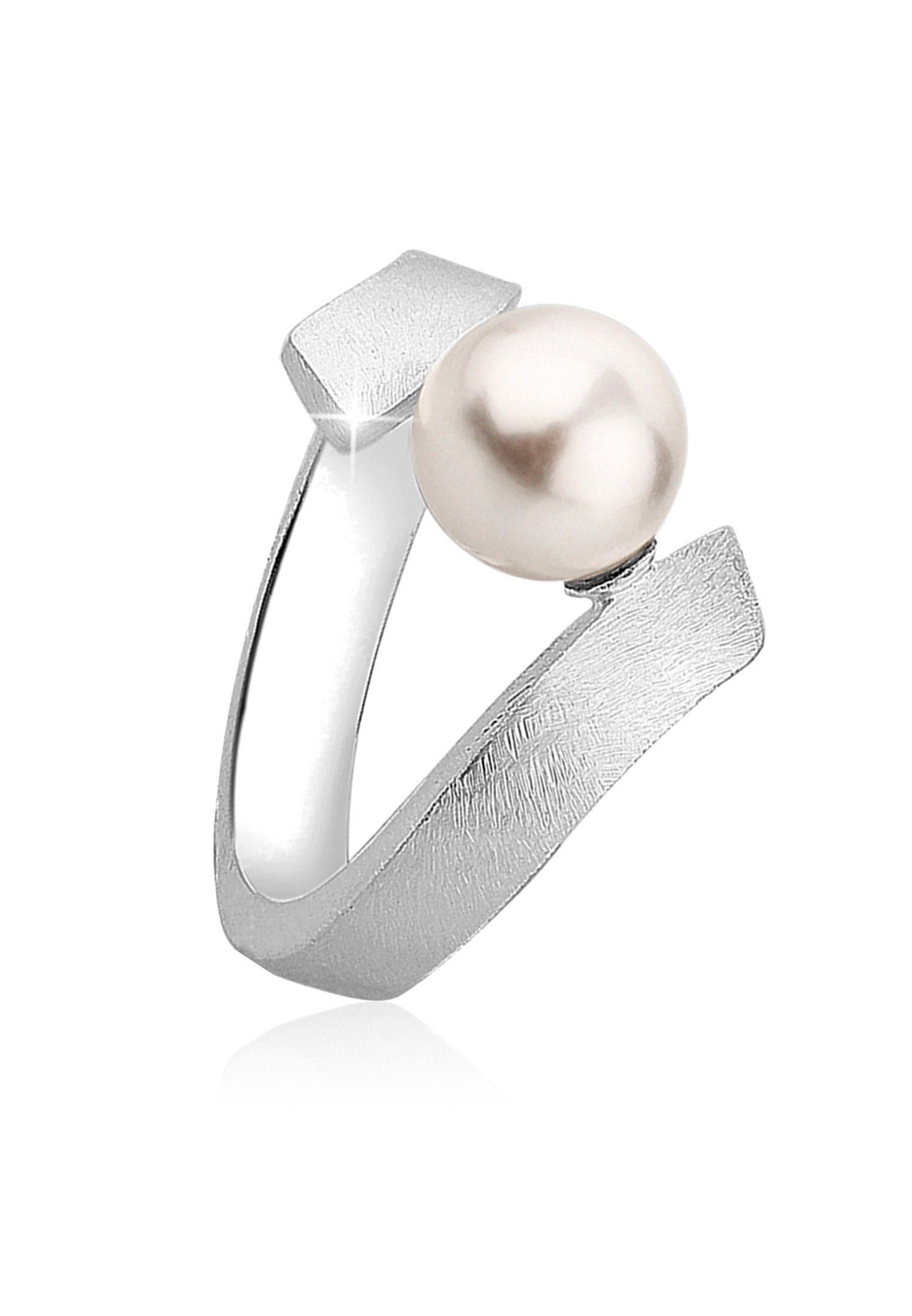 Nenalina Perlenring »Brushed Perle von Swarovski® Kristalle 925 Silber«