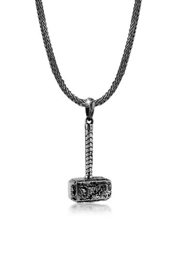 Kuzzoi Silberkette »Herren Schlangenkette Hammer Anhänger 925 Silber«