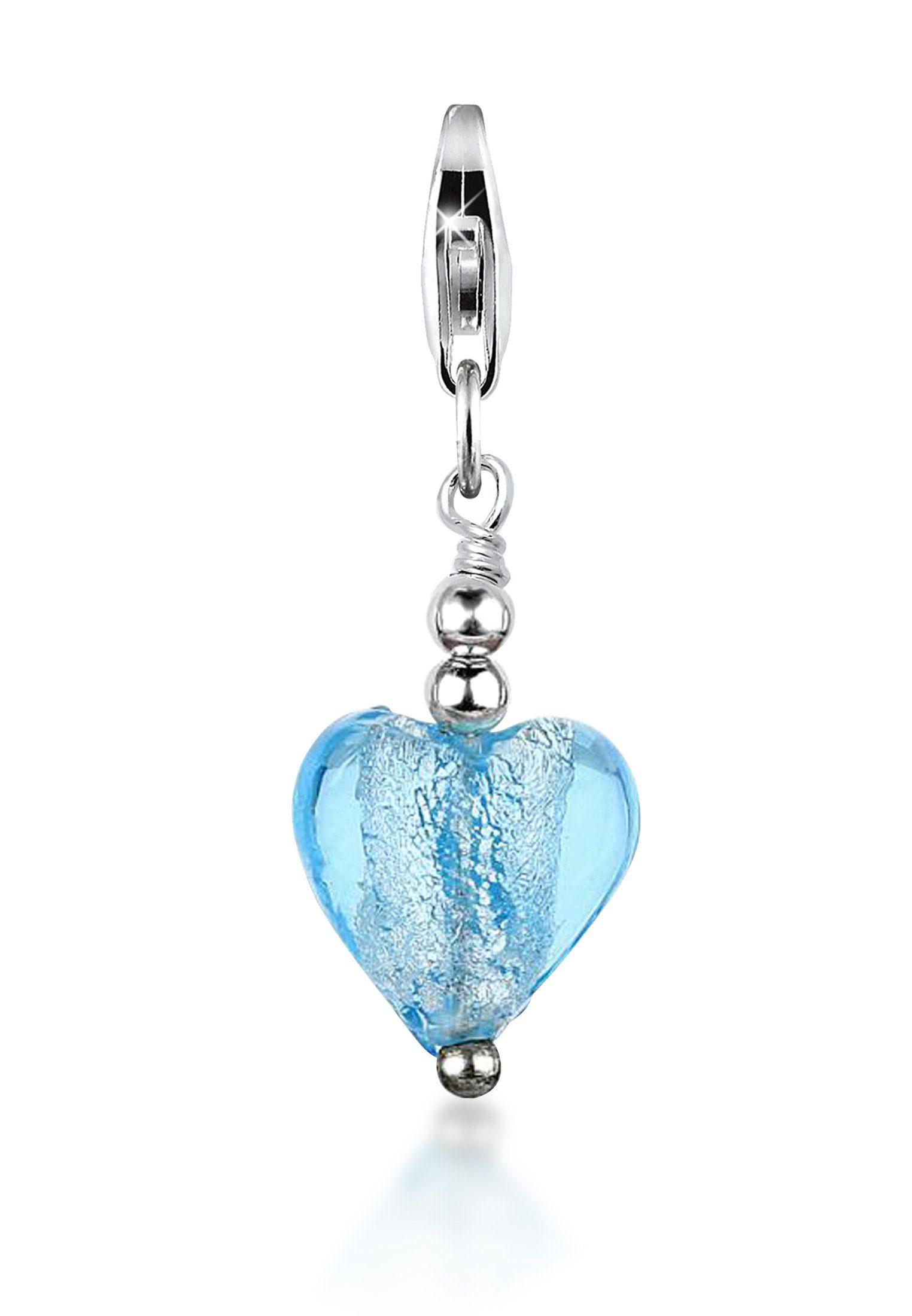 Nenalina Charm-Einhänger »Herz Silber-Anhänger Symbol Muranoglas 925 Silber«