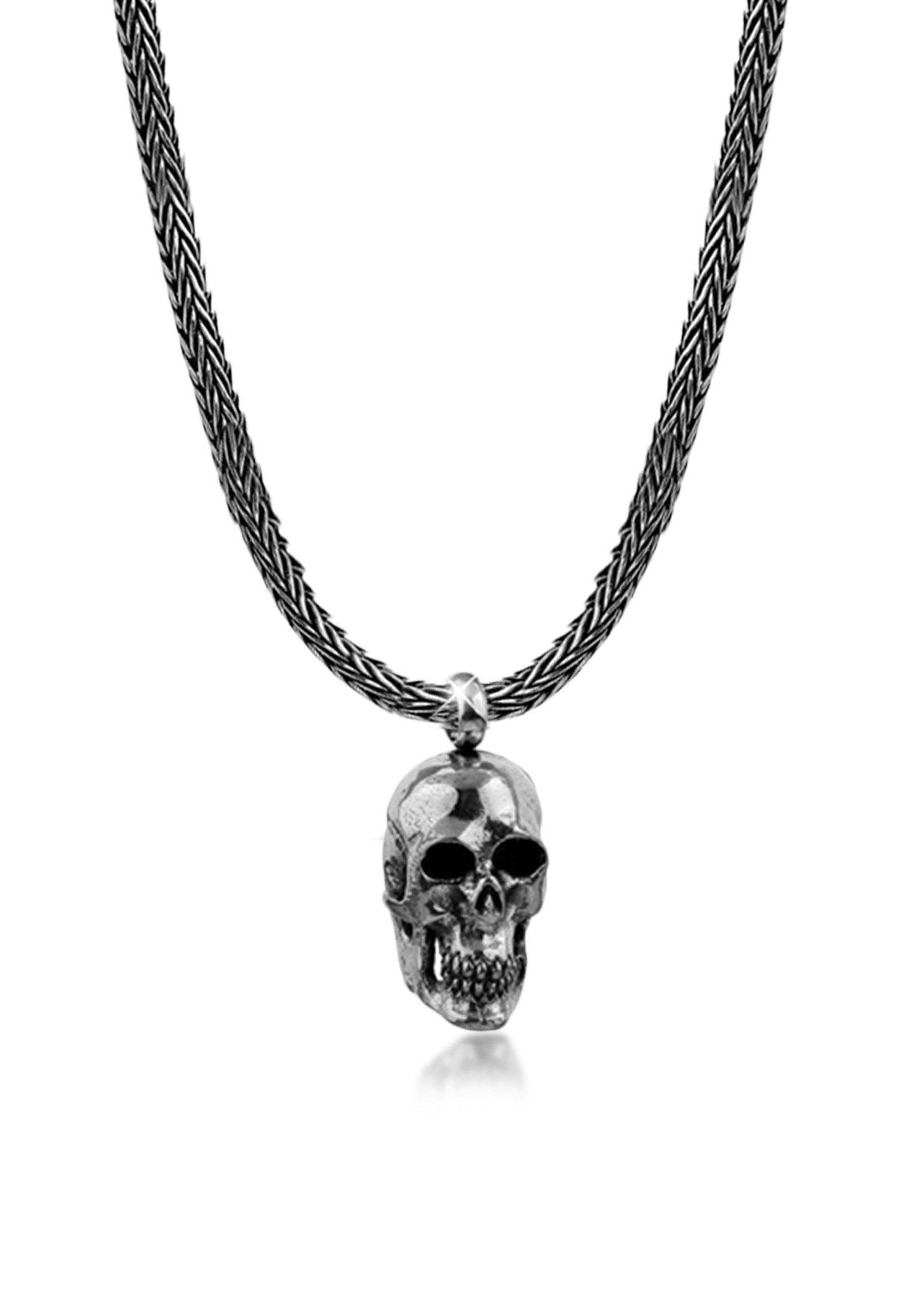 Kuzzoi Silberkette »Männerkette Totenkopf Anhänger Massiv 925 Silber«