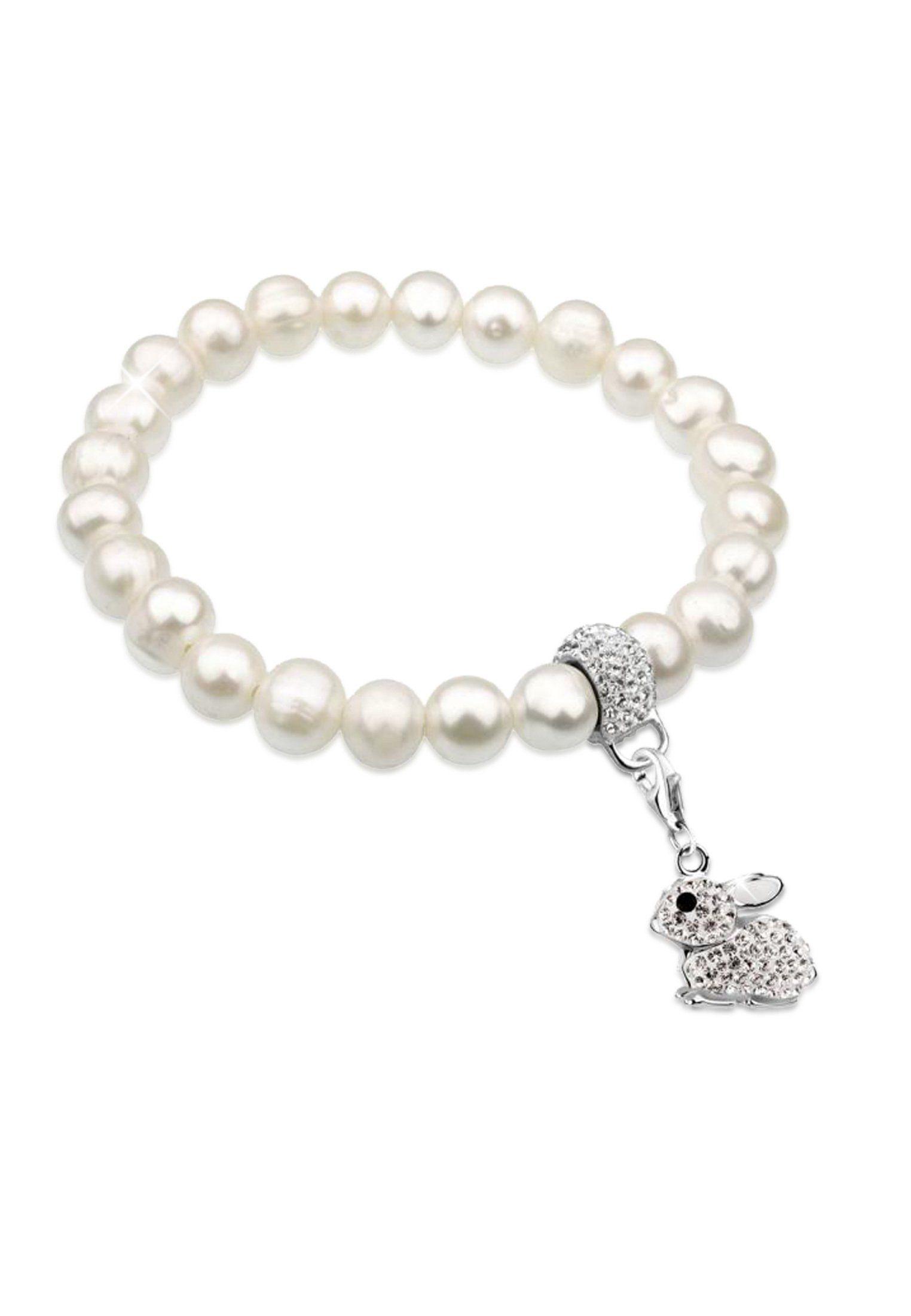 Nenalina Perlenarmband »Hase Tier Perlen Swarovski® Kristalle 925 Silber«