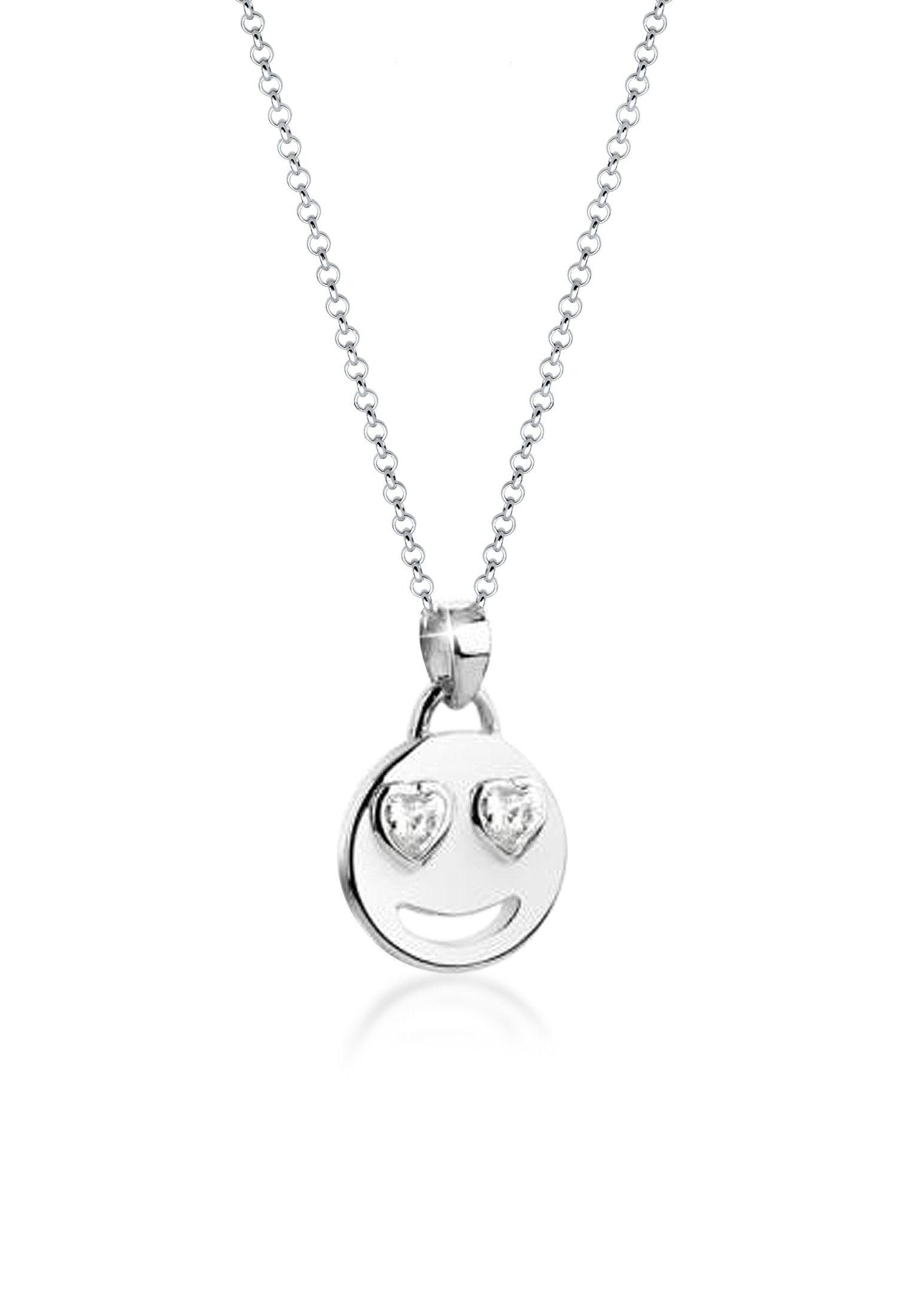 Nenalina Collierkettchen »Emoji Anhänger Zirkonia Kristalle Herz 925 Silber« | Schmuck > Halsketten > Herzketten | Silber | Nenalina