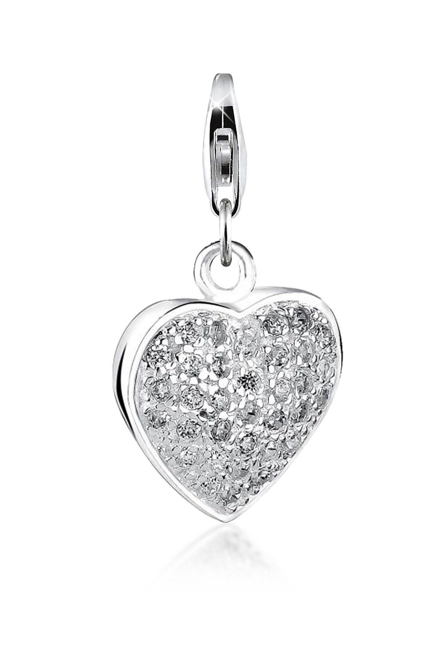 Nenalina Charm-Einhänger »Herz-Anhänger Pave Zirkonia Kristalle 925er Silber«
