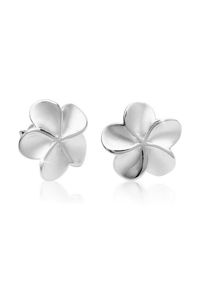 Blüte Blume Flower schwarz Ohrringe Ohrstecker Stecker 925 Sterling Silber neu