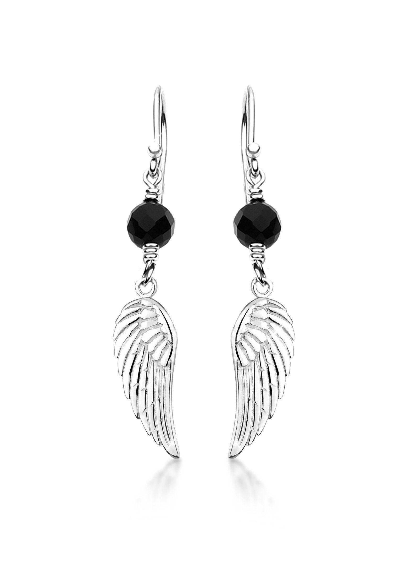 Nenalina Paar Ohrhänger »Ohrhänger Flügel Talisman Onyx Stein 925 Silber«